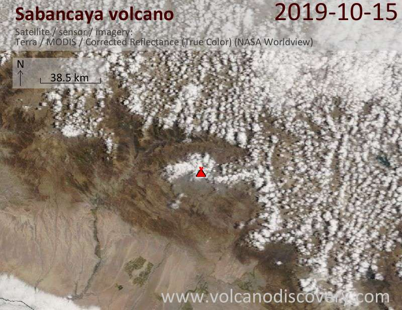 Satellite image of Sabancaya volcano on 15 Oct 2019