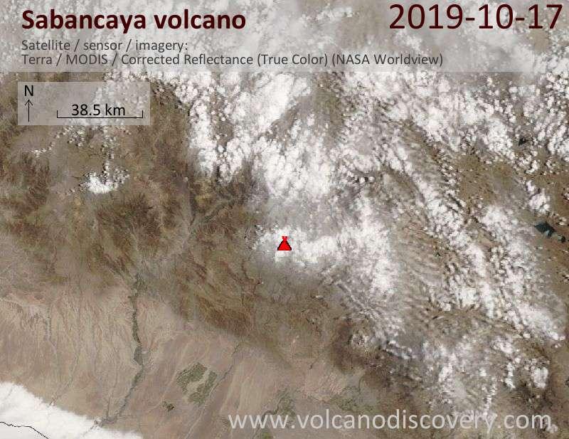 Satellite image of Sabancaya volcano on 17 Oct 2019