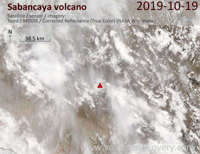 Satellite image of Sabancaya volcano on 19 Oct 2019