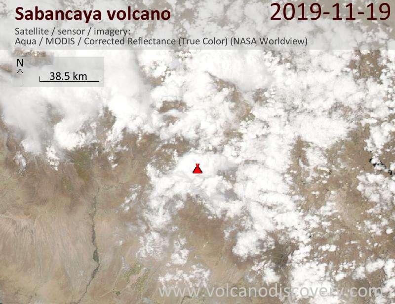 Спутниковое изображение вулкана Sabancaya 20 Nov 2019