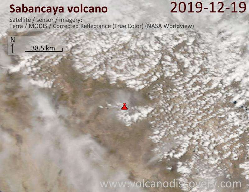 Satellite image of Sabancaya volcano on 19 Dec 2019