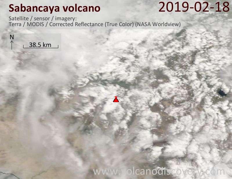 Спутниковое изображение вулкана Sabancaya 18 Feb 2019