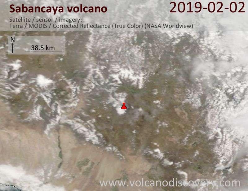 Satellitenbild des Sabancaya Vulkans am  2 Feb 2019