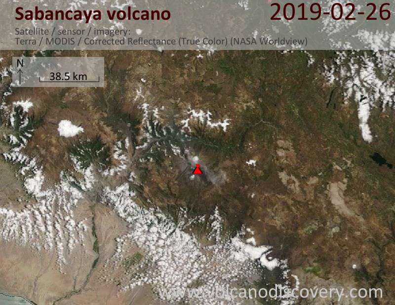 Спутниковое изображение вулкана Sabancaya 26 Feb 2019