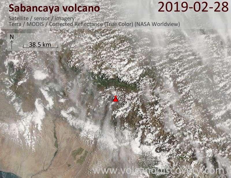 Спутниковое изображение вулкана Sabancaya 28 Feb 2019