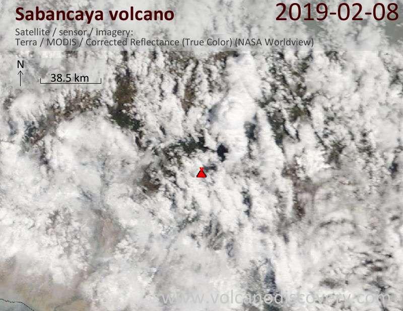 Спутниковое изображение вулкана Sabancaya  8 Feb 2019