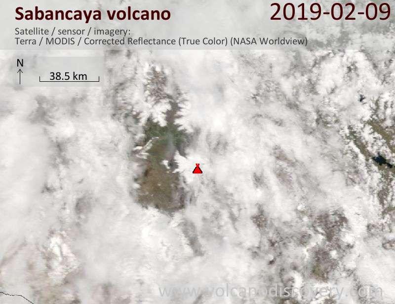 Спутниковое изображение вулкана Sabancaya  9 Feb 2019