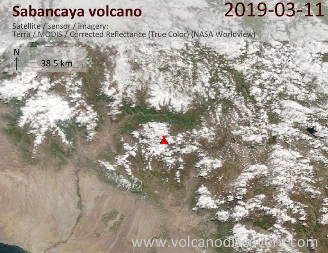 Satellite image of Sabancaya volcano on 11 Mar 2019