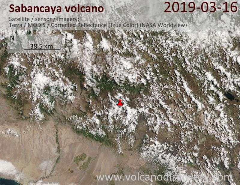 Satellite image of Sabancaya volcano on 16 Mar 2019