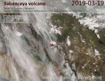 Satellite image of Sabancaya volcano on 20 Mar 2019