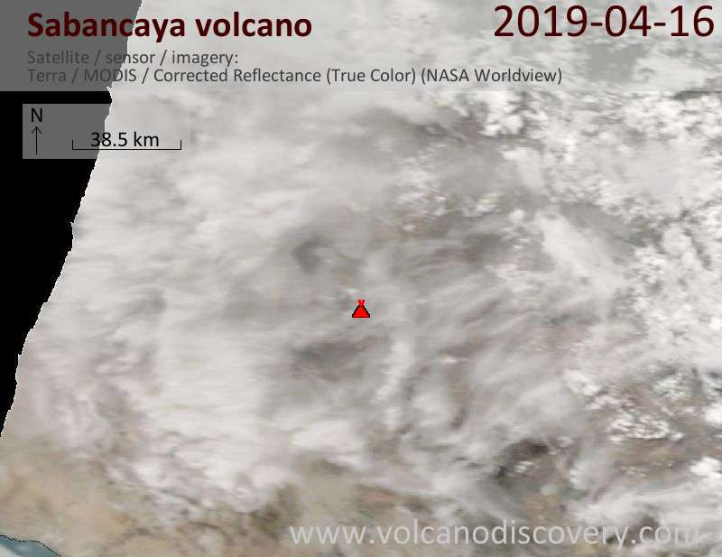 Satellitenbild des Sabancaya Vulkans am 16 Apr 2019