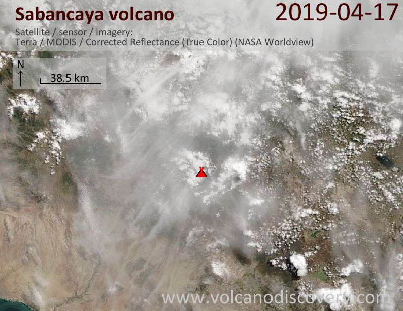 Satellite image of Sabancaya volcano on 17 Apr 2019