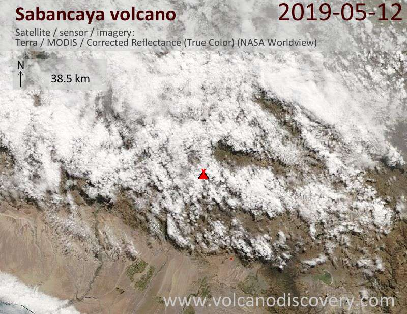 Satellite image of Sabancaya volcano on 12 May 2019