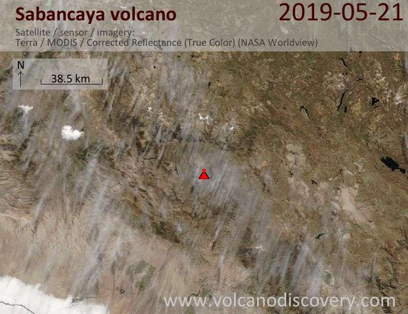 Satellite image of Sabancaya volcano on 21 May 2019