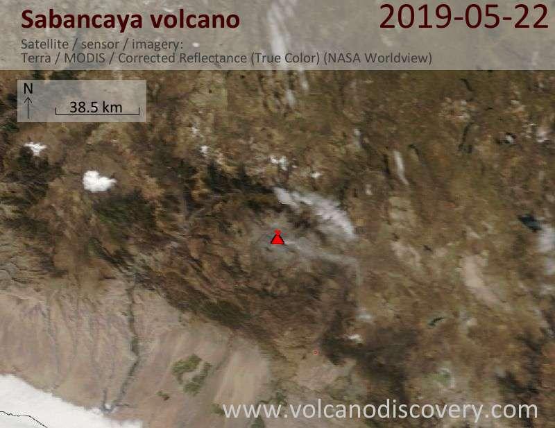 Satellite image of Sabancaya volcano on 22 May 2019