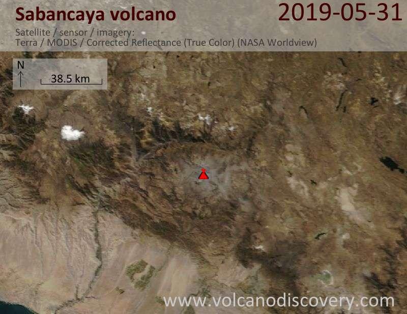 Satellite image of Sabancaya volcano on 31 May 2019