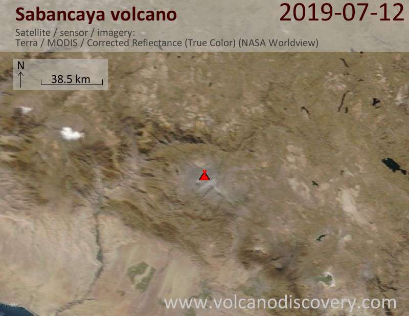 Satellitenbild des Sabancaya Vulkans am 12 Jul 2019