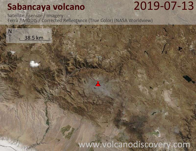 Satellite image of Sabancaya volcano on 13 Jul 2019