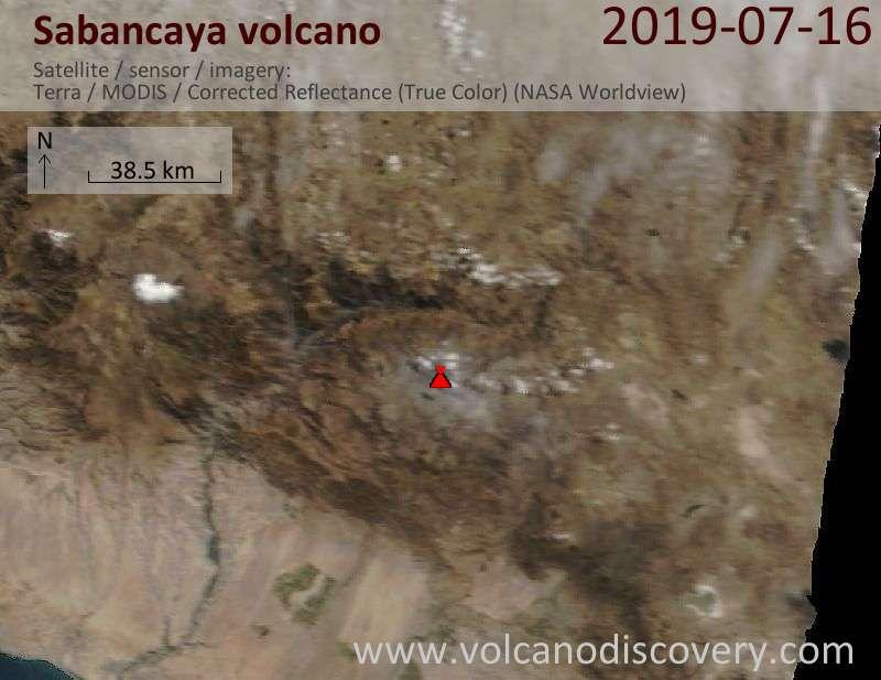 Спутниковое изображение вулкана Sabancaya 16 Jul 2019