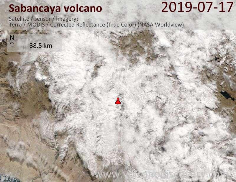 Спутниковое изображение вулкана Sabancaya 17 Jul 2019