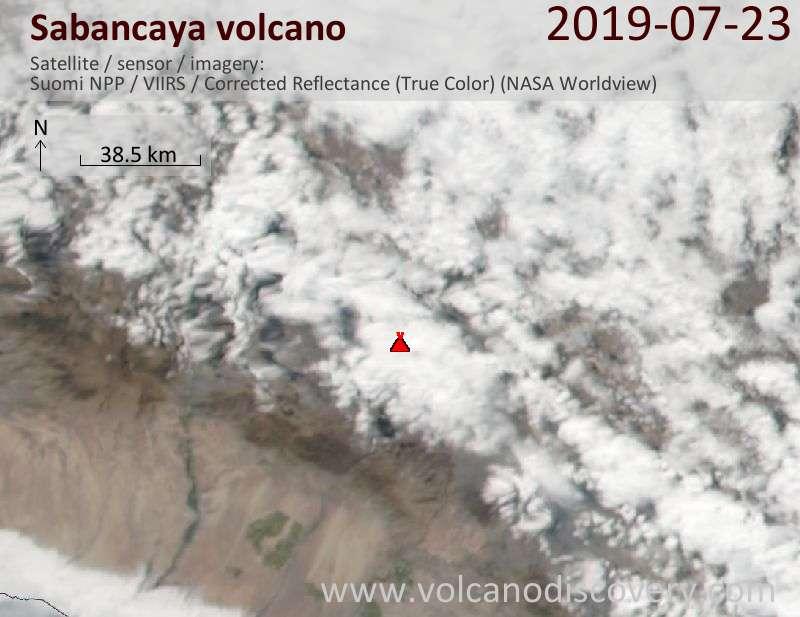 Satellite image of Sabancaya volcano on 23 Jul 2019