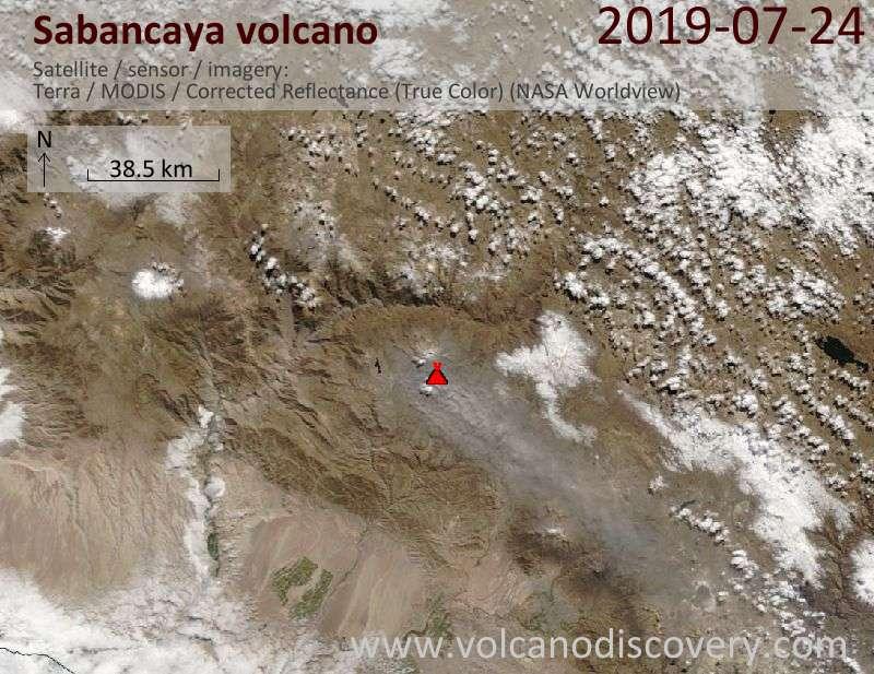 Satellite image of Sabancaya volcano on 24 Jul 2019