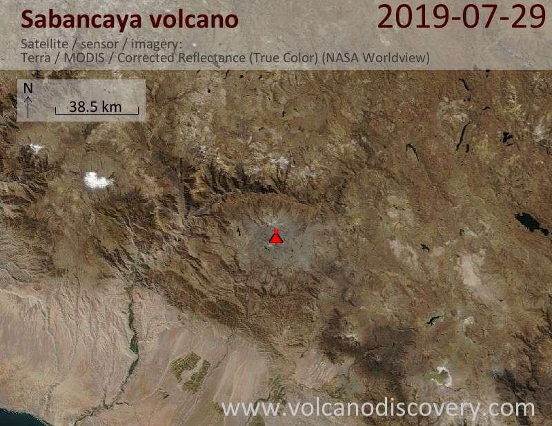 Satellite image of Sabancaya volcano on 29 Jul 2019