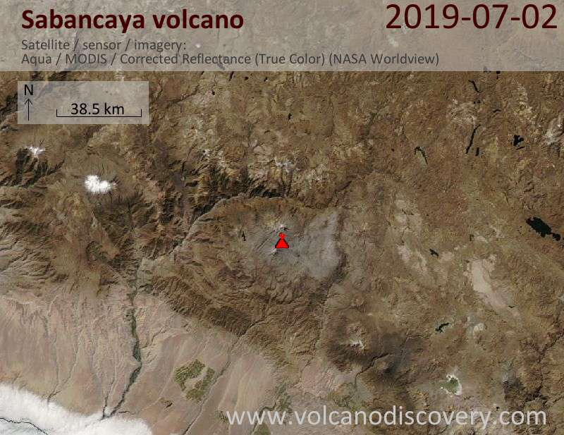 Satellite image of Sabancaya volcano on  3 Jul 2019