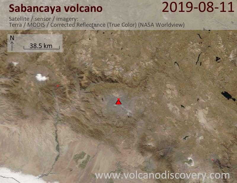 Спутниковое изображение вулкана Sabancaya 11 Aug 2019