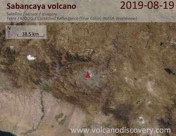Satellite image of Sabancaya volcano on 19 Aug 2019