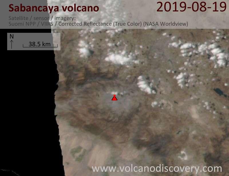 Satellite image of Sabancaya volcano on 20 Aug 2019