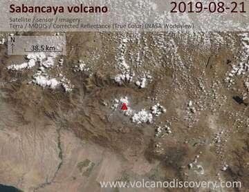 Satellite image of Sabancaya volcano on 21 Aug 2019