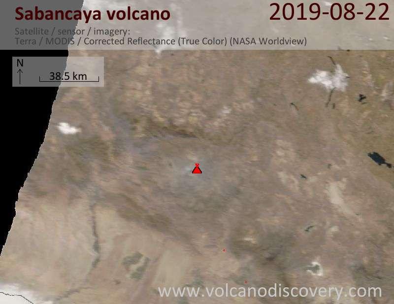 Satellite image of Sabancaya volcano on 22 Aug 2019