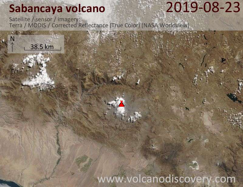 Satellite image of Sabancaya volcano on 23 Aug 2019