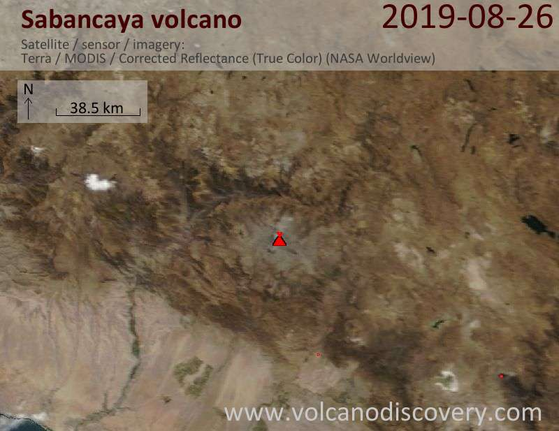 Satellite image of Sabancaya volcano on 26 Aug 2019