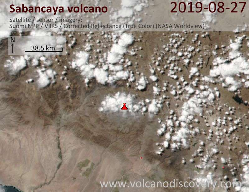 Satellite image of Sabancaya volcano on 28 Aug 2019