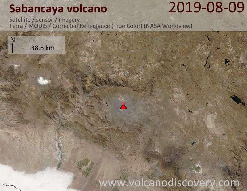 Satellite image of Sabancaya volcano on  9 Aug 2019