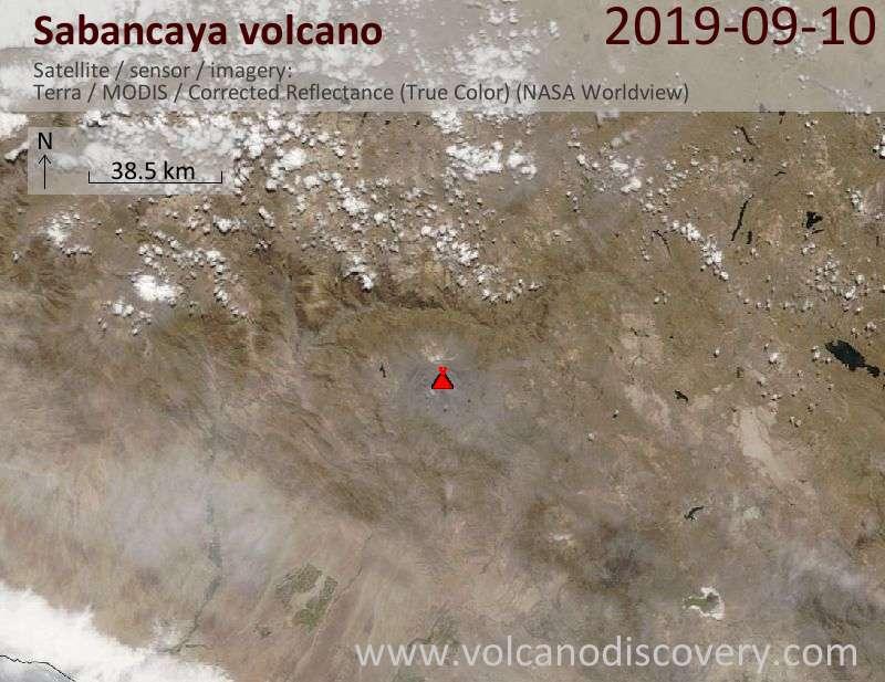 Satellite image of Sabancaya volcano on 10 Sep 2019