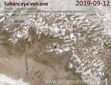 Satellite image of Sabancaya volcano on 12 Sep 2019