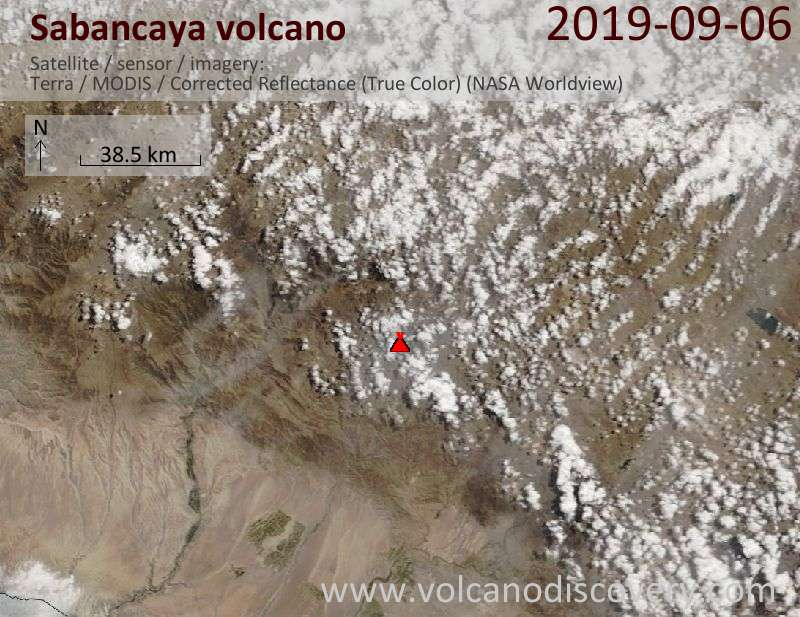 Satellite image of Sabancaya volcano on  6 Sep 2019