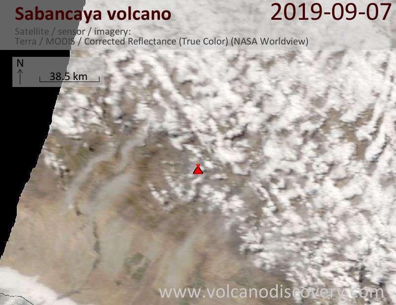 Satellite image of Sabancaya volcano on  7 Sep 2019