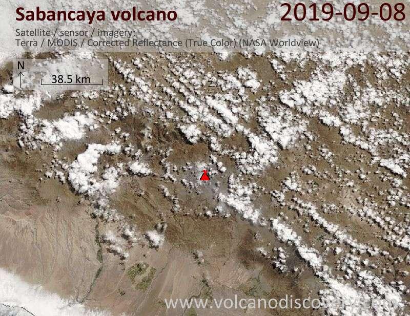 Satellite image of Sabancaya volcano on  8 Sep 2019