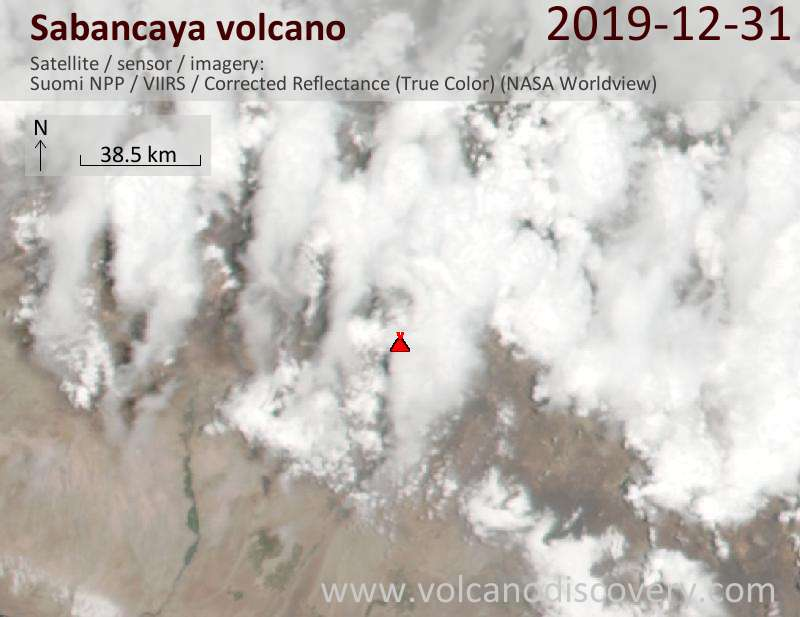 Satellite image of Sabancaya volcano on  1 Jan 2020