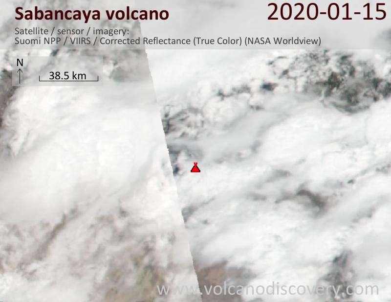 Satellite image of Sabancaya volcano on 16 Jan 2020