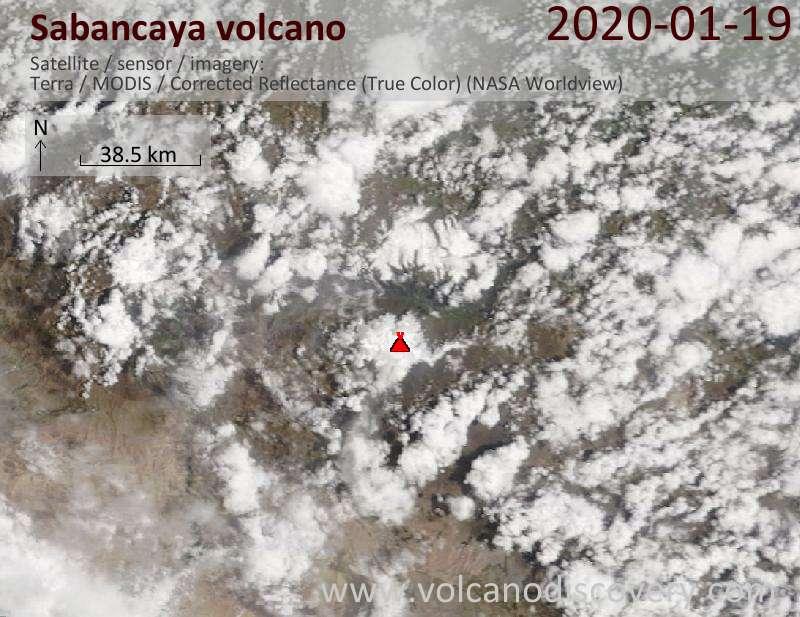 Спутниковое изображение вулкана Sabancaya 19 Jan 2020