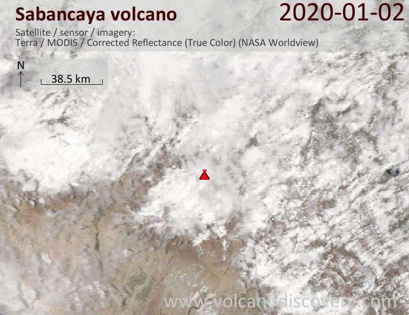 Satellite image of Sabancaya volcano on  2 Jan 2020
