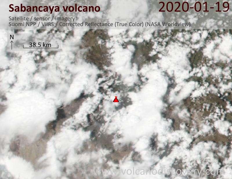 Satellite image of Sabancaya volcano on 20 Jan 2020