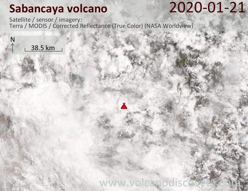 Satellitenbild des Sabancaya Vulkans am 21 Jan 2020