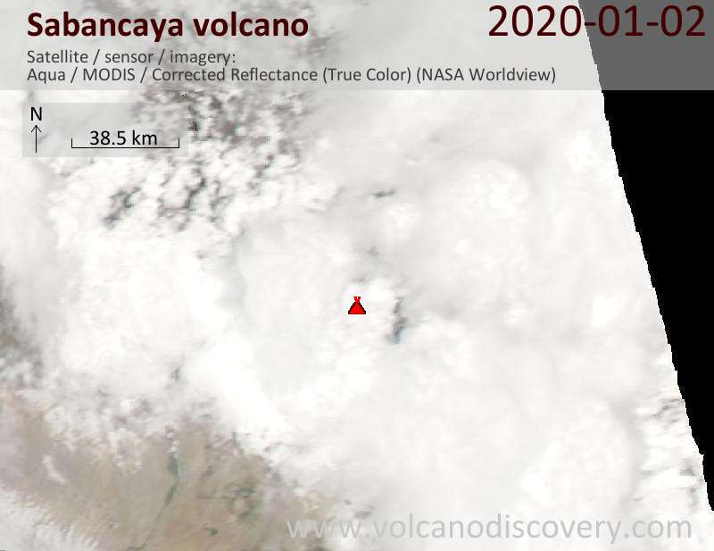 Satellite image of Sabancaya volcano on  3 Jan 2020