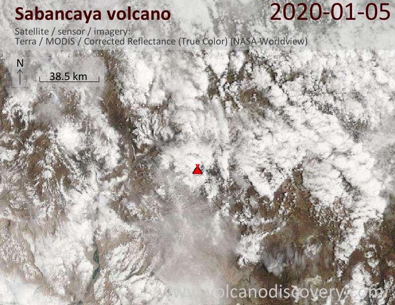 Satellite image of Sabancaya volcano on  5 Jan 2020